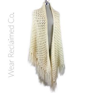 VINTAGE Cream Oversized Fringed Shawl Shrug